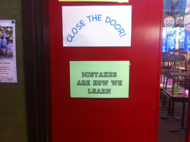 The door to my son's classroom is a simple reminder of the value of mistakes.